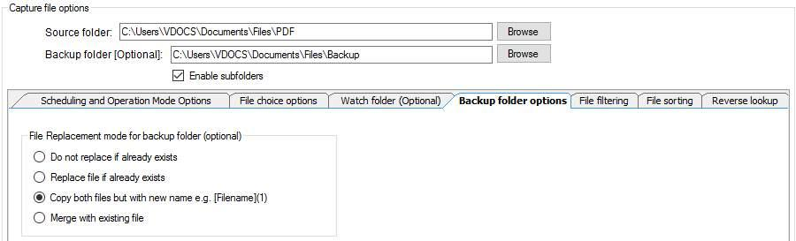 Document-Capture-File-Backup-Settings autoINDEX > autoFILER PDF, TIFF, JPG,